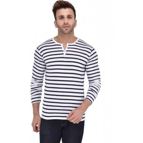 BigIdea White & Blue Cotton Striped Men's Henley T-Shirt