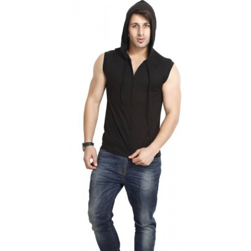 Trendfull Black Cotton Solid Men Hooded T-Shirt