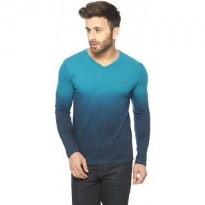 Gritstones Blue Cotton Solid Men's V-neck T-Shirt