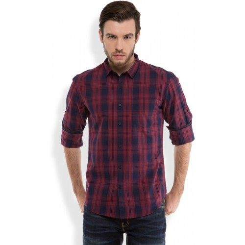 Highlander Red & Dark Blue Cotton Men's Checkered Casual Shirt