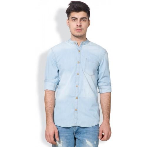 Highlander Light Blue Denim Men's Solid Casual Shirt