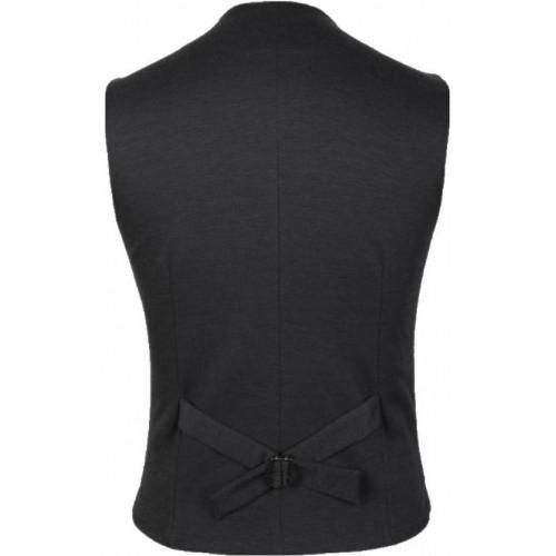 Cenizas Black Polyester Solid Waistcoat