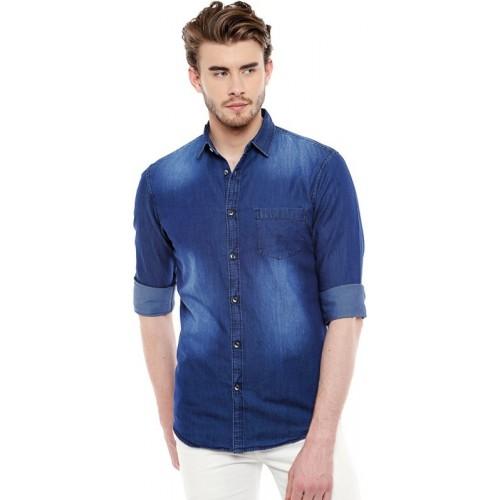 Dennis Lingo Dark Blue Denim Solid Casual Shirt