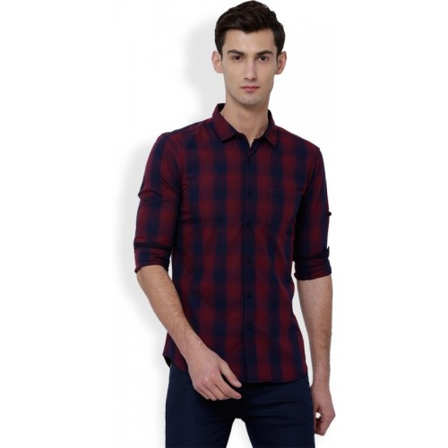 Highlander Red &  Blue Cotton Checkered Casual Shirt