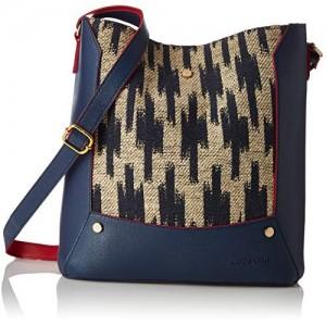 Kanvas Katha Navy Blue Synthetic Sling Bag