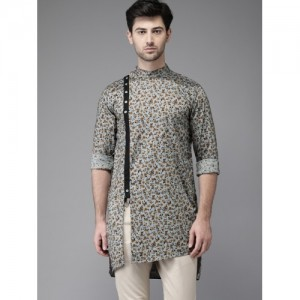 Freehand Grey Cotton Printed Casual Straight Kurta