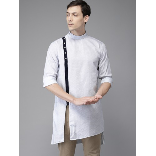 Freehand Men White Cotton Printed Casual Straight Kurta