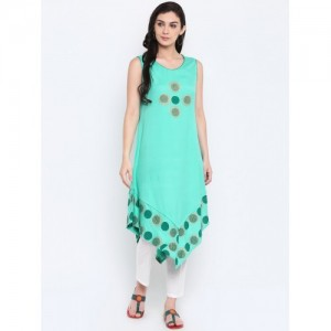 9rasa Sea Green Printed Straight Kurta