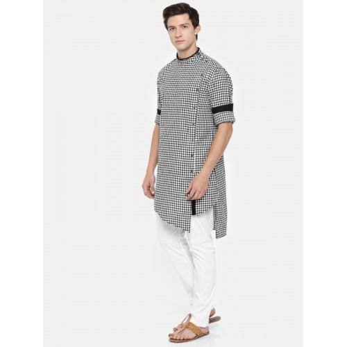 Freehand Black & White Cotton Self Design Asymmetric Kurta Pyjama Set