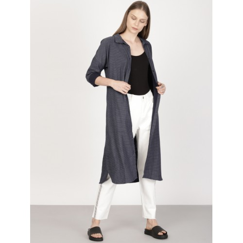 ether Navy Blue Cotton Striped Longline Shrug With Side Pockets
