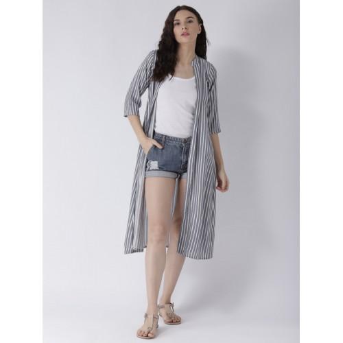 pinwheel Grey Cotton Striped Open-Front Shrug