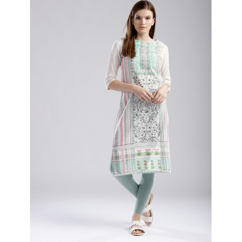 W Women White Cotton  Printed Straight Kurta