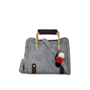 Mark Keith Women Grey Faux Leather Handbag
