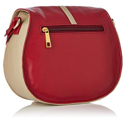 Kanvas Katha Red & Beige Synthetic Sling Bag