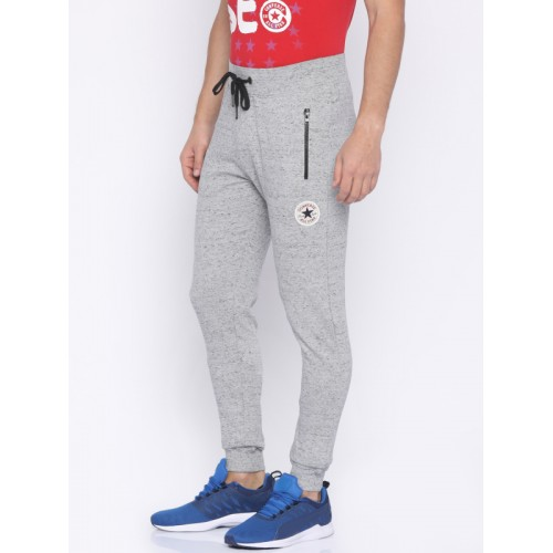 Converse Men Grey Cotton Knitted Solid Joggers