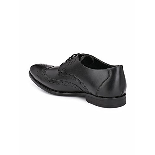 Levanse Black Leather Lace Up Formal Brogue Shoes