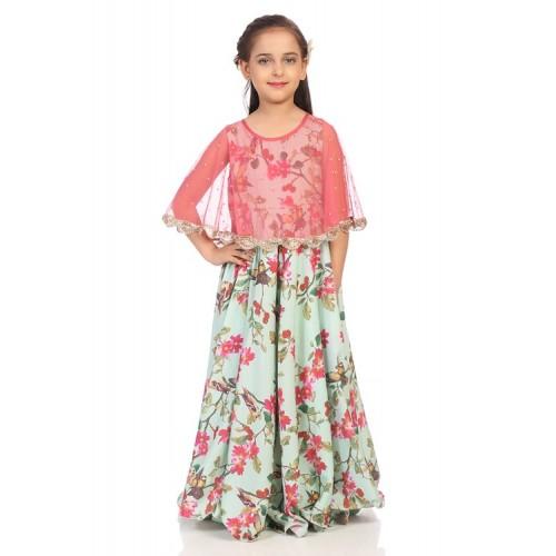 Sea Green Nylon Anarkali Dress