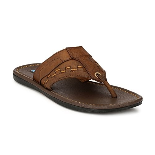 Levanse Men's Brown Leather Slippers