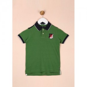 Indian Terrain Green Cotton Solid Polo T Shirt