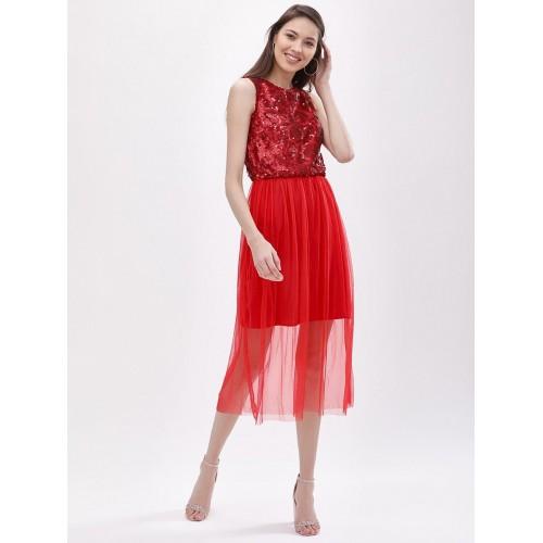 041d2b0a260 Buy KOOVS Sequin Mesh Midi Dress online