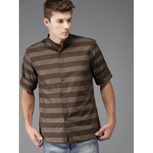 HERE&NOW Men Brown Regular Fit Striped Casual Shirt