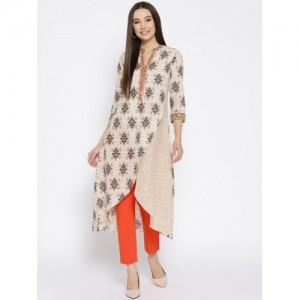 Biba Women Beige Cotton Printed Layered A-Line Kurta