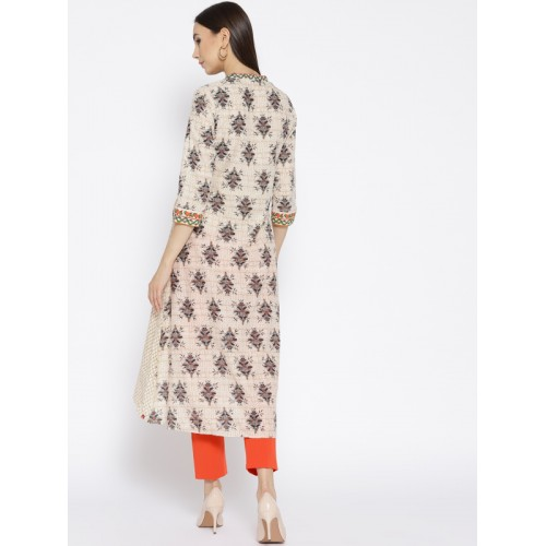 Biba Women Beige Cotton Printed Layered A-Line Kurta