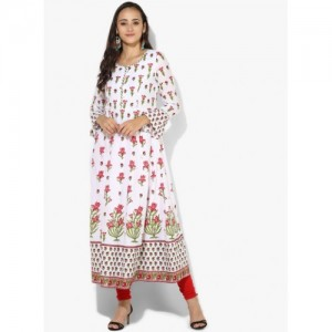 Biba Women White Cotton Printed Anarkali Kurta
