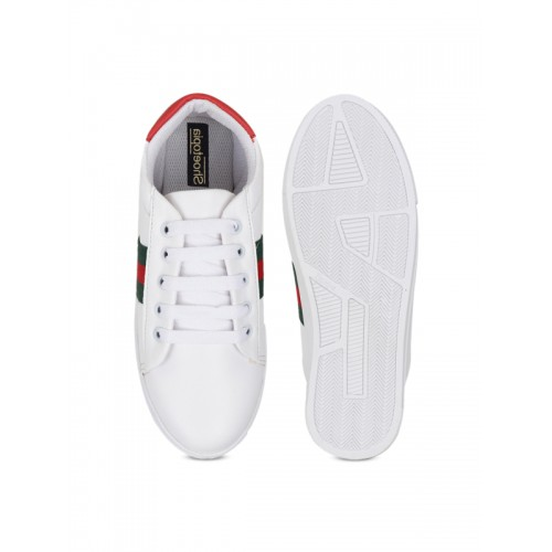 Shoetopia Women White Synthetc Solid Sneakers
