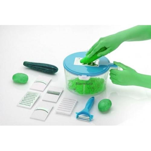 Bluewhale NEW 10-in-1 Kitchen Box Blue Plastic Detachable Manual Food Processor Plastic Detachable Dough Maker(Blue)