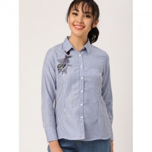 DressBerry Blue & White Poly Cotton Striped Regular Fit Casual Shirt