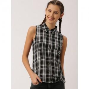 DressBerry Women Black & white Cotton Checked Casual Shirt