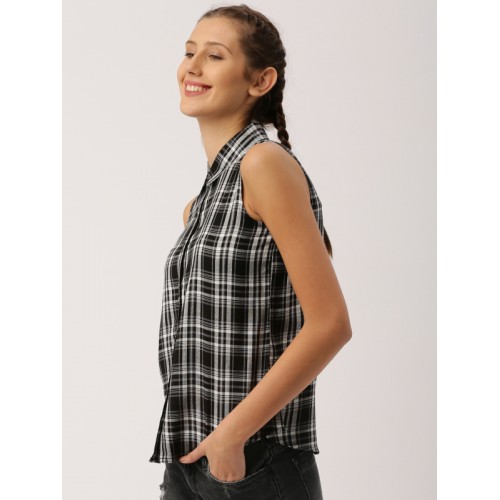 DressBerry Women Black & white Cotton Checked Casual Shirt