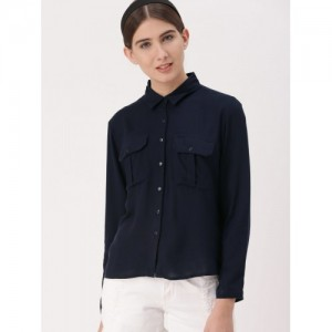 DressBerry Navy Blue Viscose Rayon Solid Regular Fit Casual Shirt