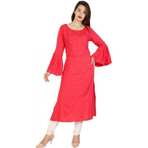 Tulsika Women Embroidered Straight Kurta(Red)