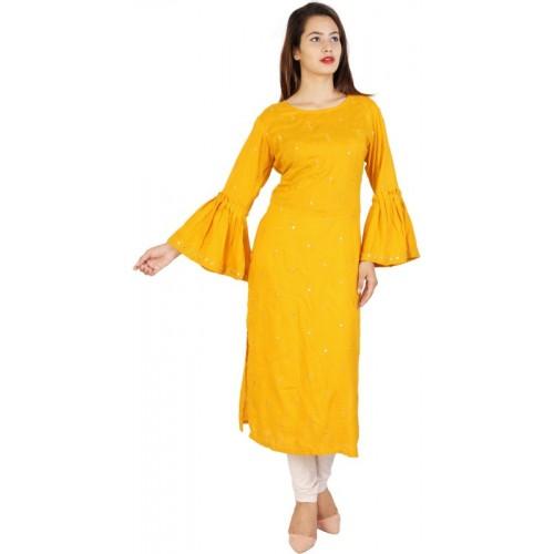 Tulsika Women Embroidered Straight Kurta(Yellow)