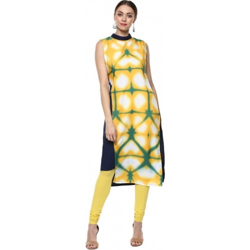 Ziyaa Casual Printed Women Kurti(Yellow)