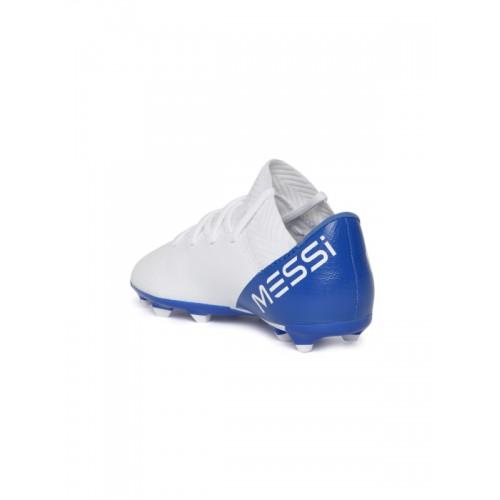 8635eb3aa ... Adidas Boys White NEMEZIZ Messi 18.3 Firm Ground Colourblocked Football  Shoes ...