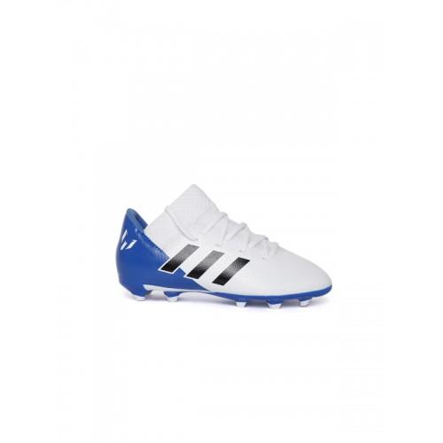 Adidas Boys White NEMEZIZ Messi 18.3 Firm Ground Colourblocked Football Shoes
