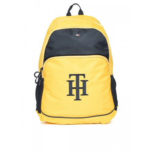 Tommy Hilfiger Unisex Yellow & Navy Colourblocked Polyester Backpack