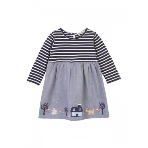 Beebay Blue Striped Empire Dress