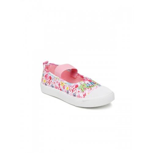 Kittens Girls Pink & White Canvas Slip-On Sneakers