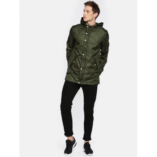 SKULT by Shahid Kapoor Men Olive Green Solid Tailored Jacket