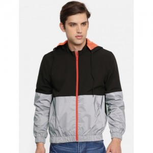 SKULT by Shahid Kapoor Men Black & Grey Colourblocked Bomber Jacket