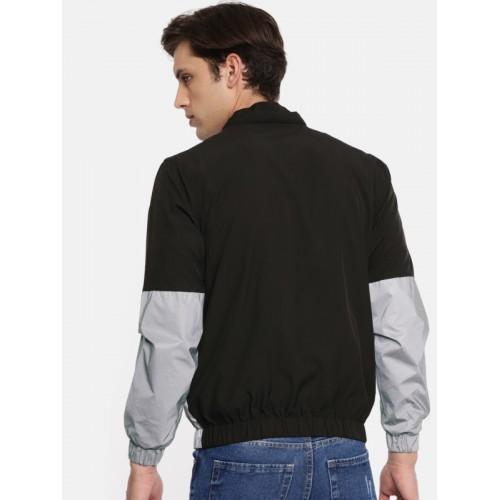 SKULT by Shahid Kapoor Men Black & Grey Colourblocked Bomber Jacket