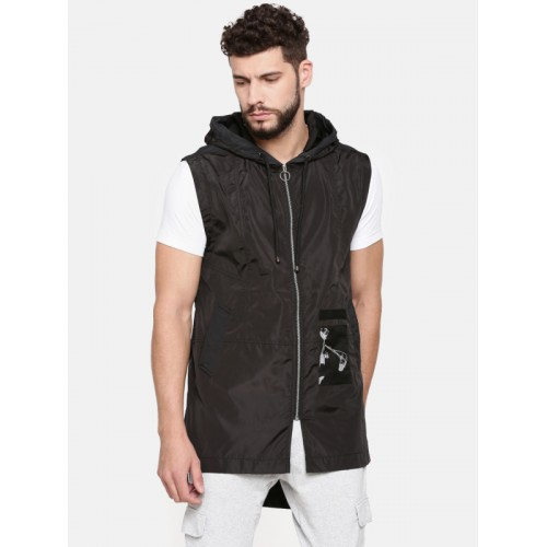 SKULT by Shahid Kapoor Men Black Solid Tailored High-Low Jacket