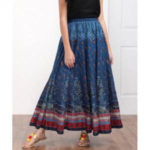 Biba Blue Cotton Printed Flared Maxi Skirt