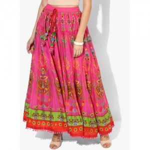 Biba Pink Cotton Printed Flared Maxi Skirt
