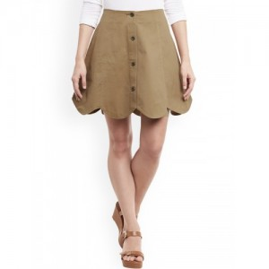 Rider Republic Brown Cotton Solid A-Line Skirt
