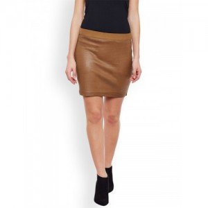 Rider Republic Tan Brown Cotton Blend Mini Pencil Skirt